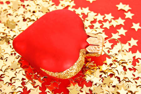 Golden stars in the form of confetti  and  christmas toys photo