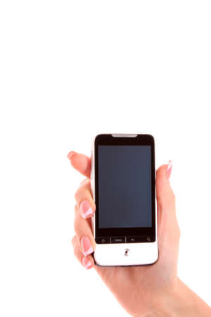 Hand holding smart phone on white Stock Photo - 8253008