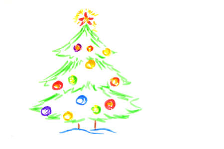christmas tree, drawing by  child photo