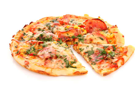 slice of pizza: Tasty Italian pizza over white