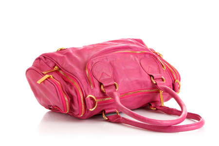 Pink women bag isolated on white background photo