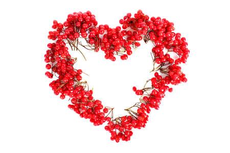 viburnum  in heart shape on white photo