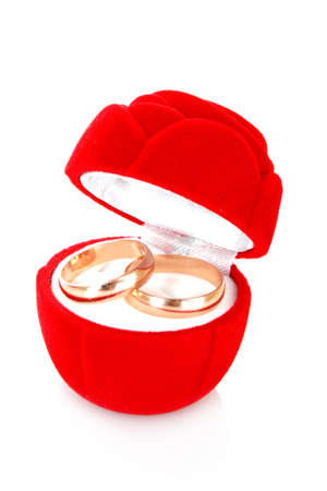 wedding ring in red box  on white background photo