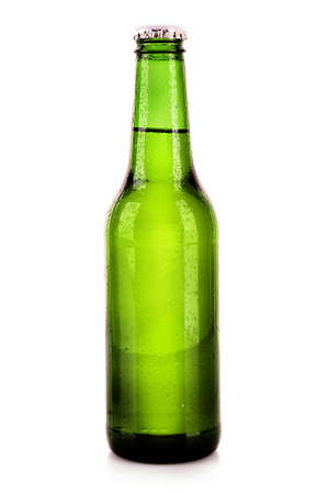 bottle of beer isolated on white photo
