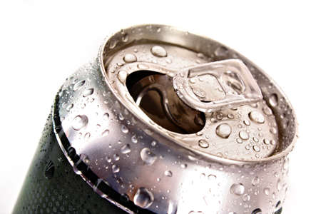 Closeup of metallic beer with water drops isolated on white photo