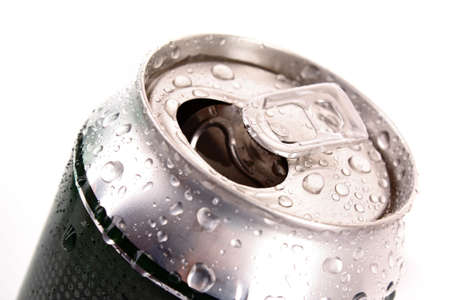 Closeup of metallic beer with water drops isolated on white Stock Photo - 8514415
