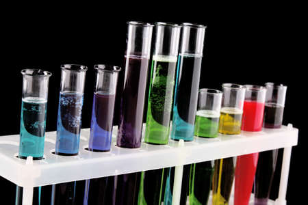 clinical laboratory: Test tubes on black background