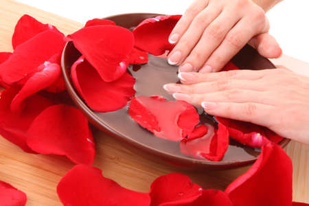 french manicure: Hands with french manicure  relaxing in bowl of water with rose petals. Stock Photo