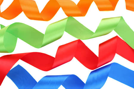 Color ribbons on a white background photo