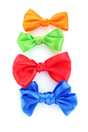 Color  bows on white background photo
