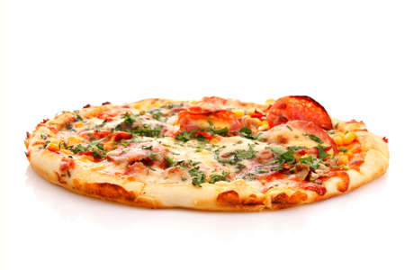 pizza ingredients: Tasty Italian pizza over white
