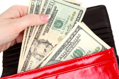 money wallet: red purse with dollars in the hands on a white background