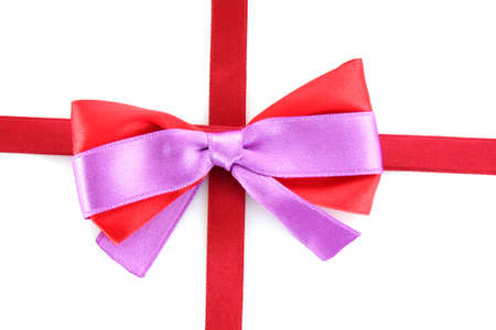 Gift red ribbon and bow isolated on white background Stock Photo - 8812483