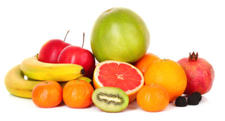Pomegranate, mandarin, banana, , orange, kiwi,  grapefruit and apples on white background photo