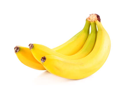 platano maduro: Racimo de bananos aislados sobre fondo blanco Foto de archivo