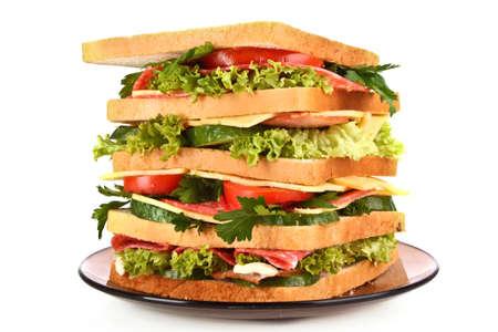 Huge sandwich on white background photo