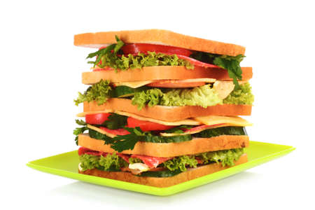 Huge sandwich on white background photo