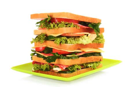 chicken chop: Huge sandwich on white background