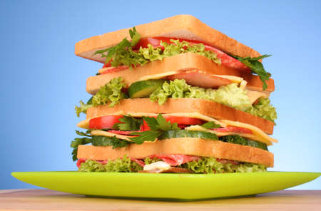 Huge sandwich on blue background photo