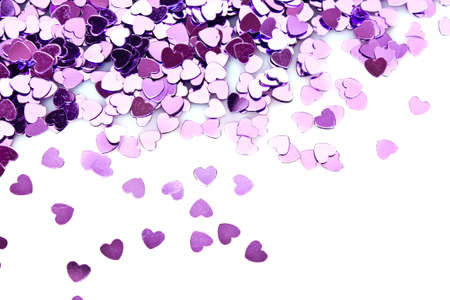 Violet hearts  in the form of confetti on white Stock Photo - 8812993