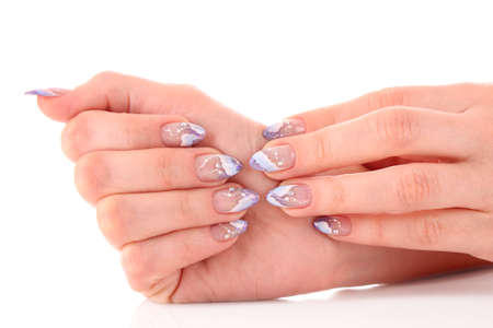 christmas manicure: Nails with beautiful winter design on white