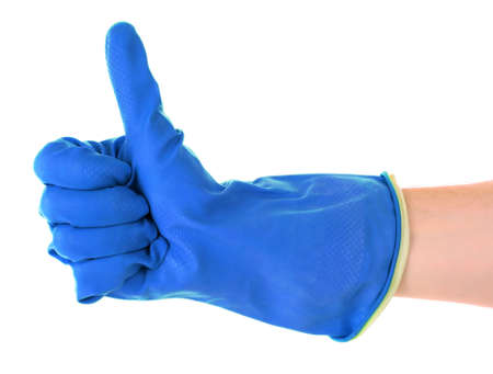 Thumbs up with a blue  glove on white photo