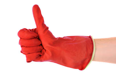 Thumbs up with a red  glove on white photo