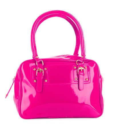 Pink women bag isolated on white background photo