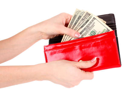 pocketbook: red purse with dollars in the hands on a white background
