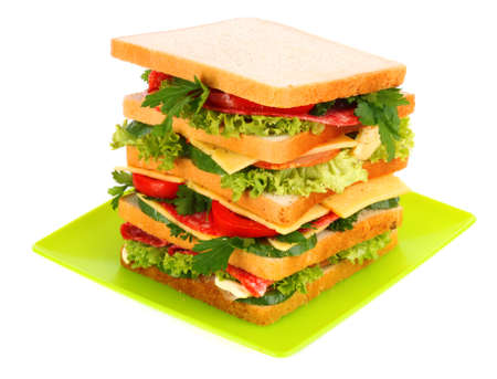Huge sandwich and glass of tomato juice on white background Stock Photo - 8983208