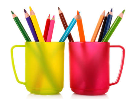 Many colorful pencils in the cup  on the white background Stock Photo - 8983204