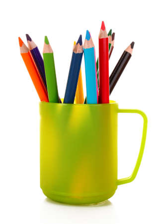 Many colorful pencils in the cup  on the white background Stock Photo - 8983194