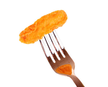 fried pieces  of  chicken on the fork photo