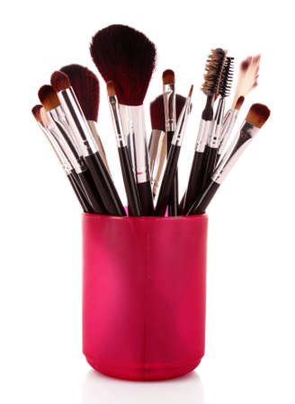 set up: cosmetic brushes in cup white