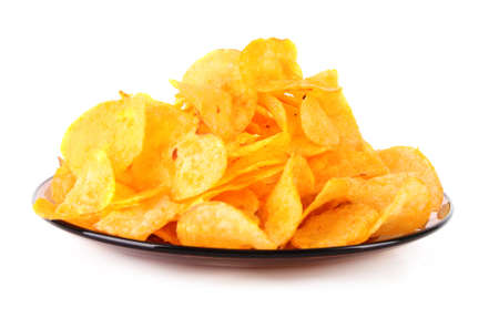 nosh: potato crisps on the plate isolated on white Stock Photo