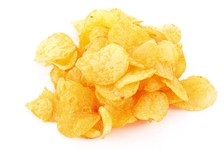 Potato chips isolated on white photo