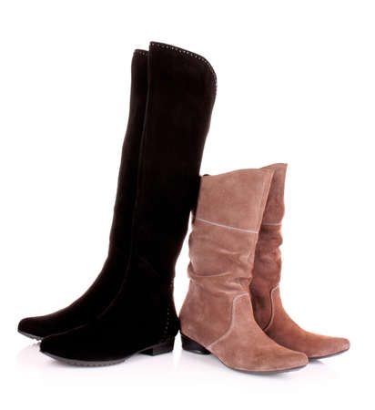 Suede boots isolated on the white background photo