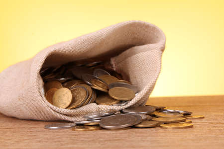 Bag filled with coins Stock Photo - 9149255