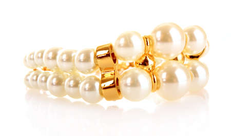 whie: Luxury pearl bracelet on whie background