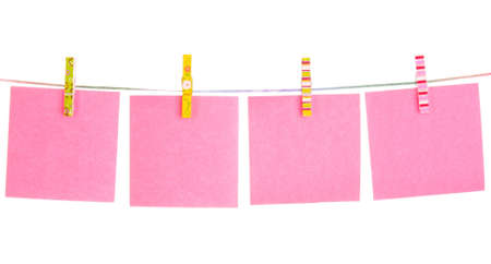 Blank paper sheets on a clothes line on a white background Stock Photo - 9211067