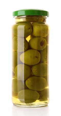 Pickled olives in glass jar on white Stock Photo - 9211057