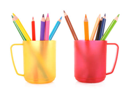 Many colorful pencils in the cup  on the white background Stock Photo - 9211062