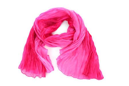 Pink female scarf isolated on white background photo