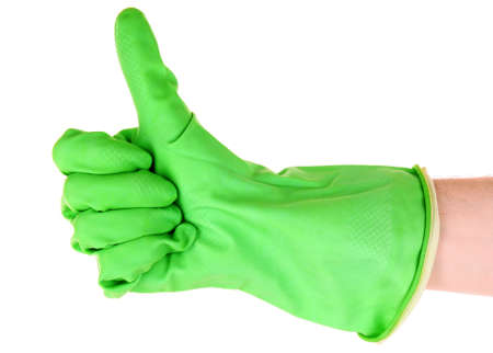 Thumbs up with a green  glove on white Stock Photo - 9211435