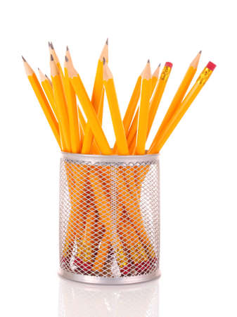 whie: many pencils on whie Stock Photo