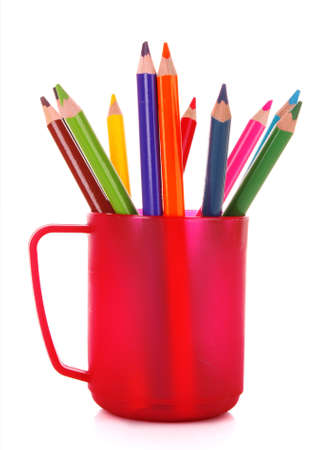 Many colorful pencils in the cup  on the white background Stock Photo - 9211398