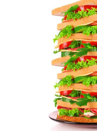 Huge sandwich on white background Stock Photo - 9318573