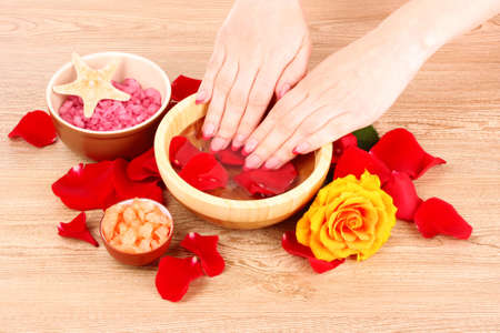 Hands in water with rose petals photo
