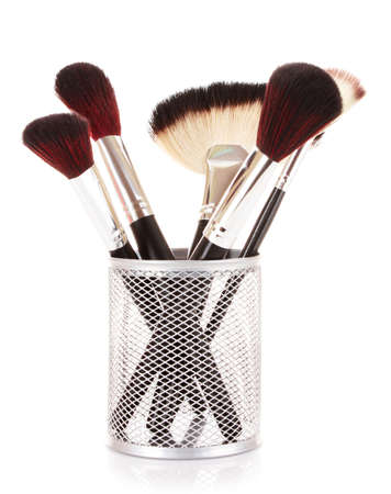 cosmetic brushes in cup white Stock Photo - 9371039