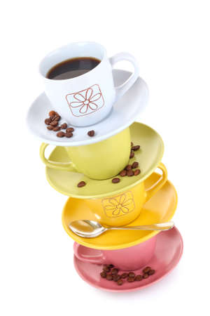 Color cups with coffee, and cinnamon  on   white background photo